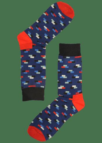 Heren sokken rood en blauw met strepen