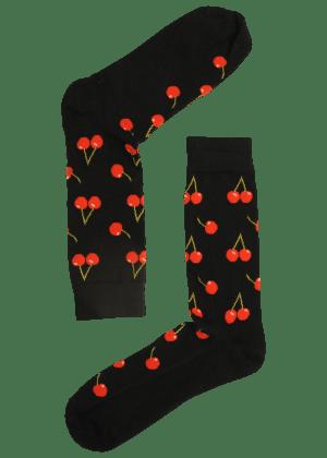 Heren Sokken Zwart Kersen
