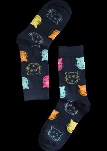 Katten_Blauw_Sokken