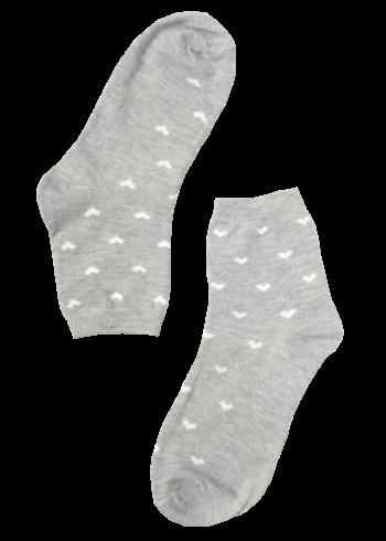 Dames sokken grijs met hartjes