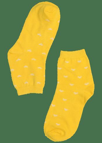 Dames sokken geel met hartjes