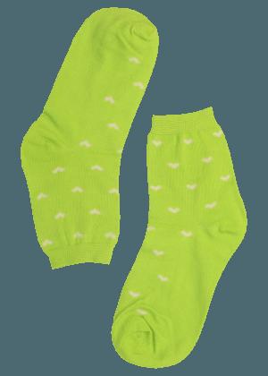 Dames sokken groen met hartjes
