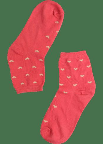 Dames sokken roze met hartjes