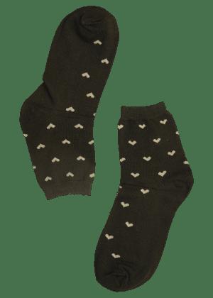 Dames sokken zwart met hartjes