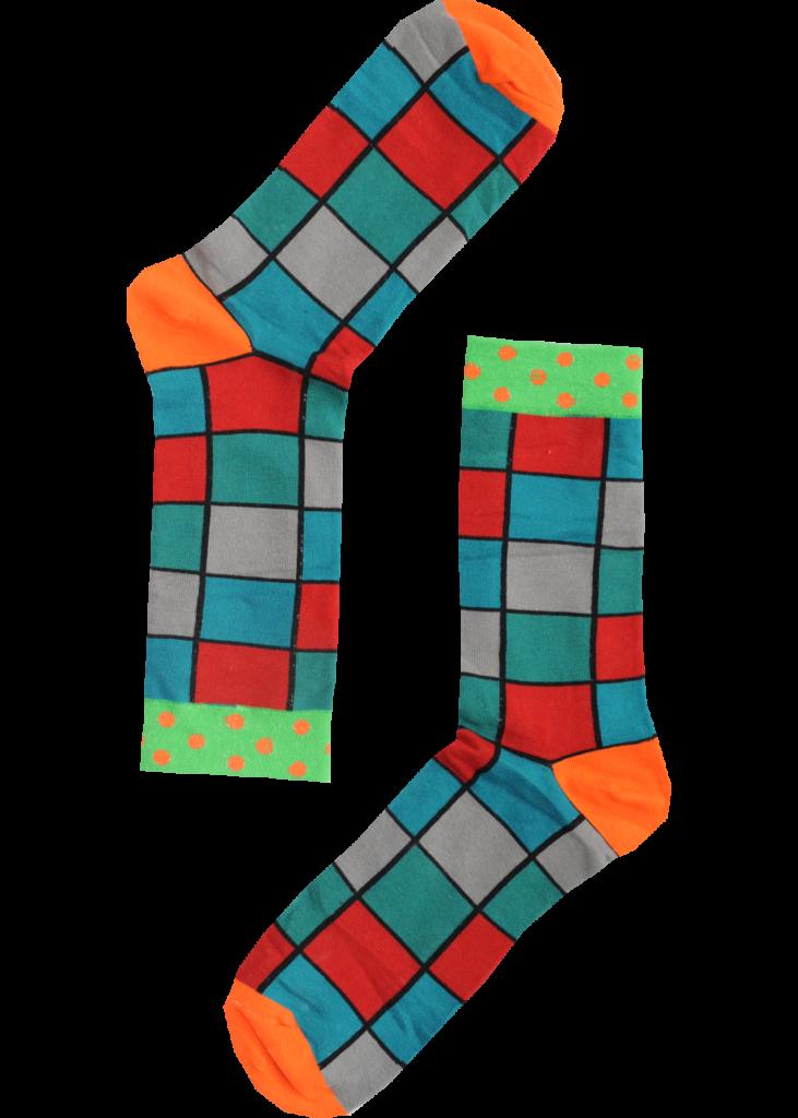 Abstracte sokken vierkante kleuren met stippen